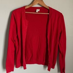 Red Button Up Cardigan Sweater Size Small